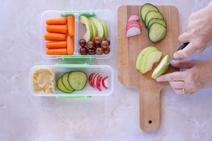Chopped fruits and vegetables