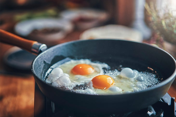 Eggs frying in a pan