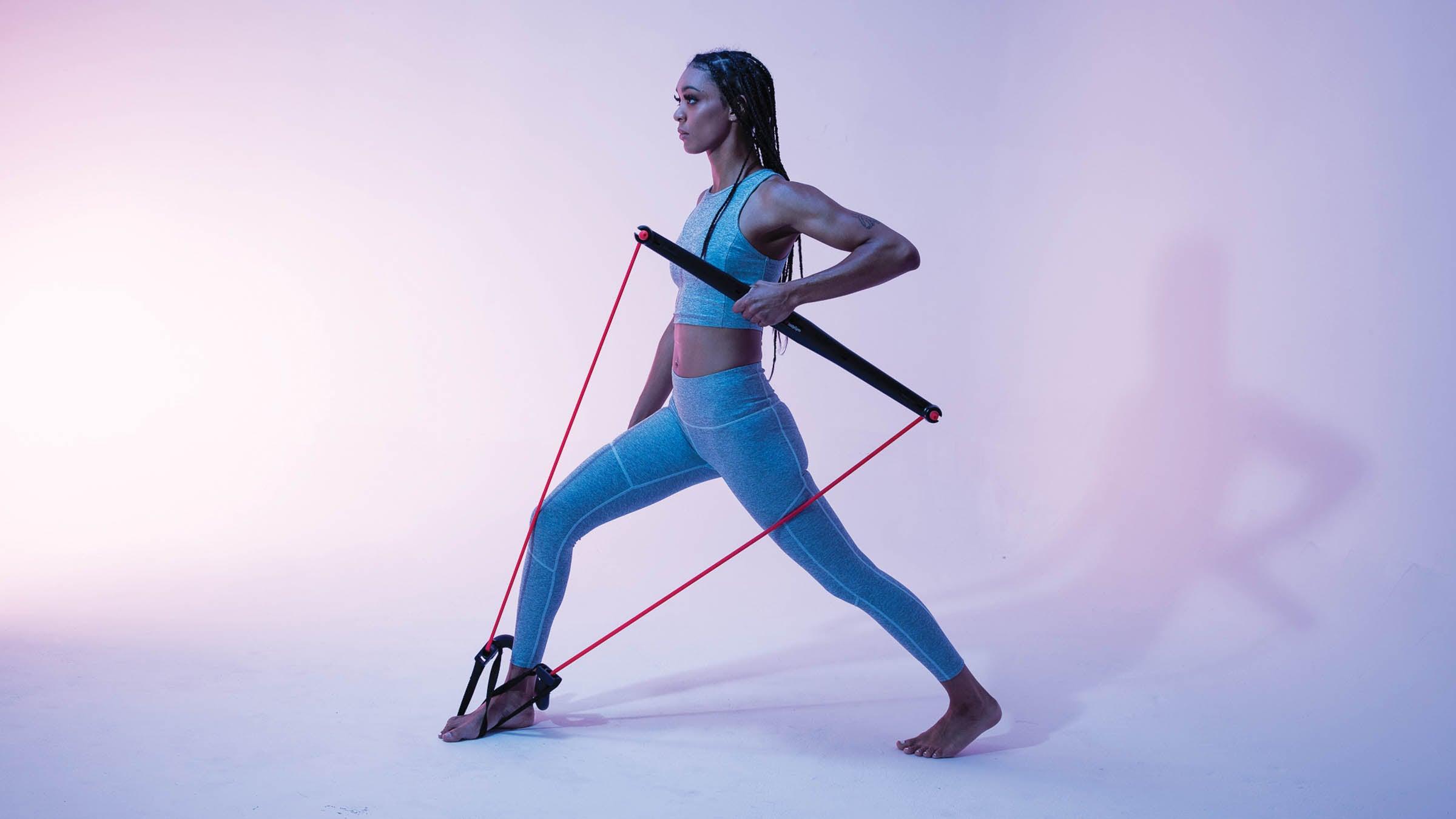 Woman using resistance training
