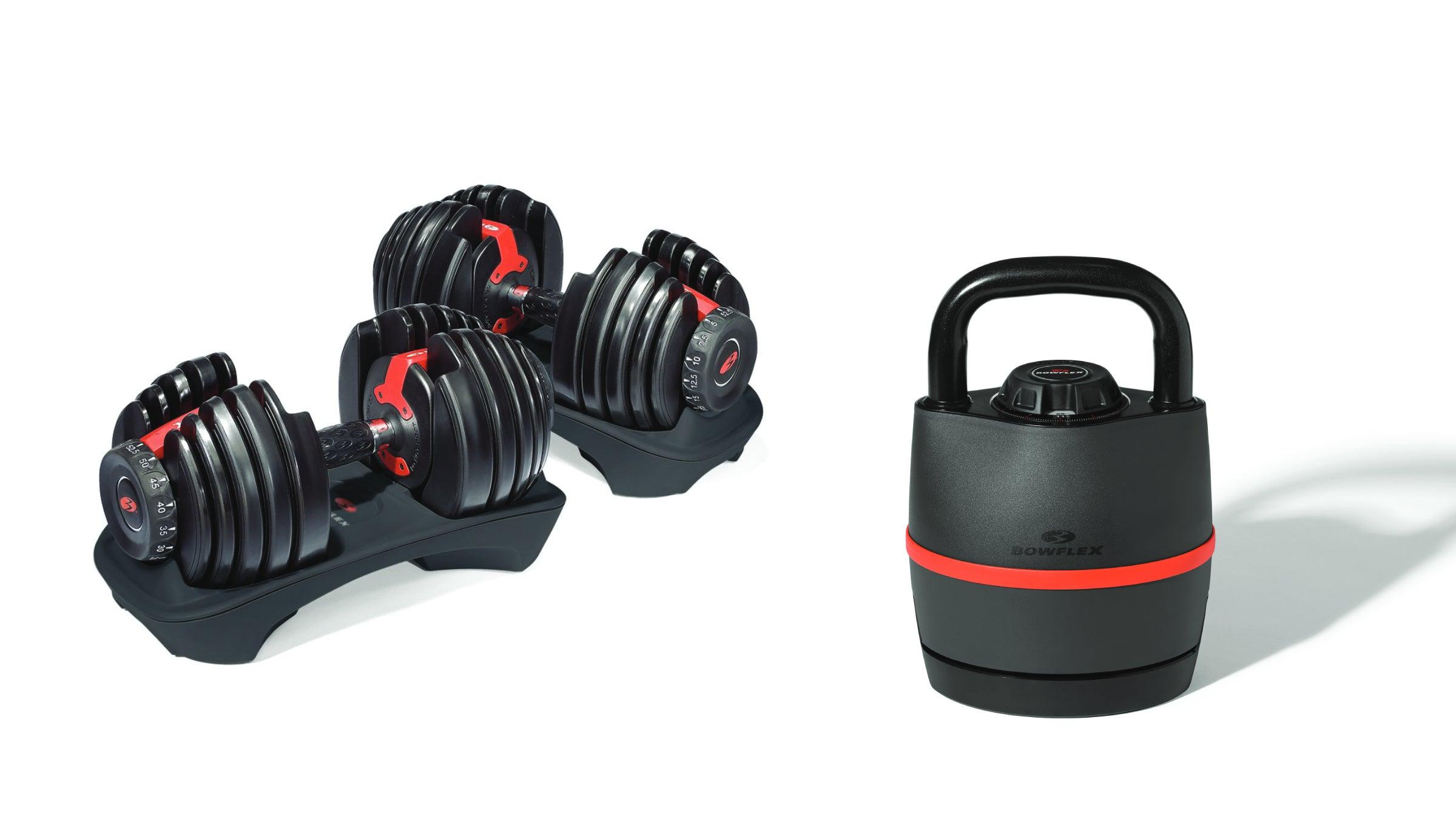 Bowflex adjustable dumbbells and kettlebell
