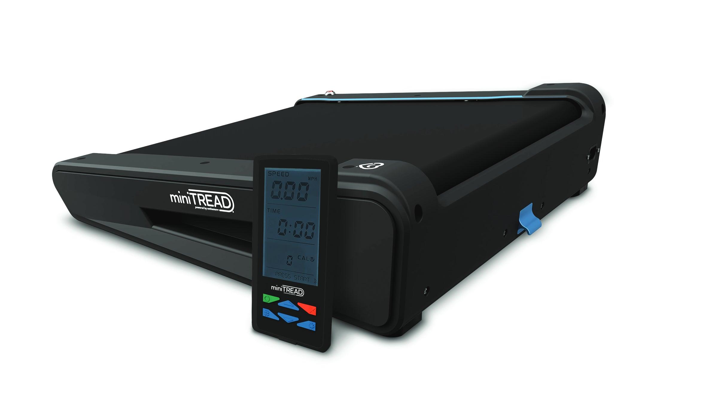 Black desk treadmill with remote