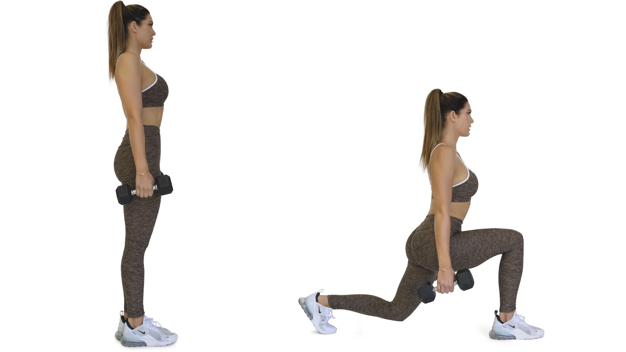 Woman demonstrating forward lunge