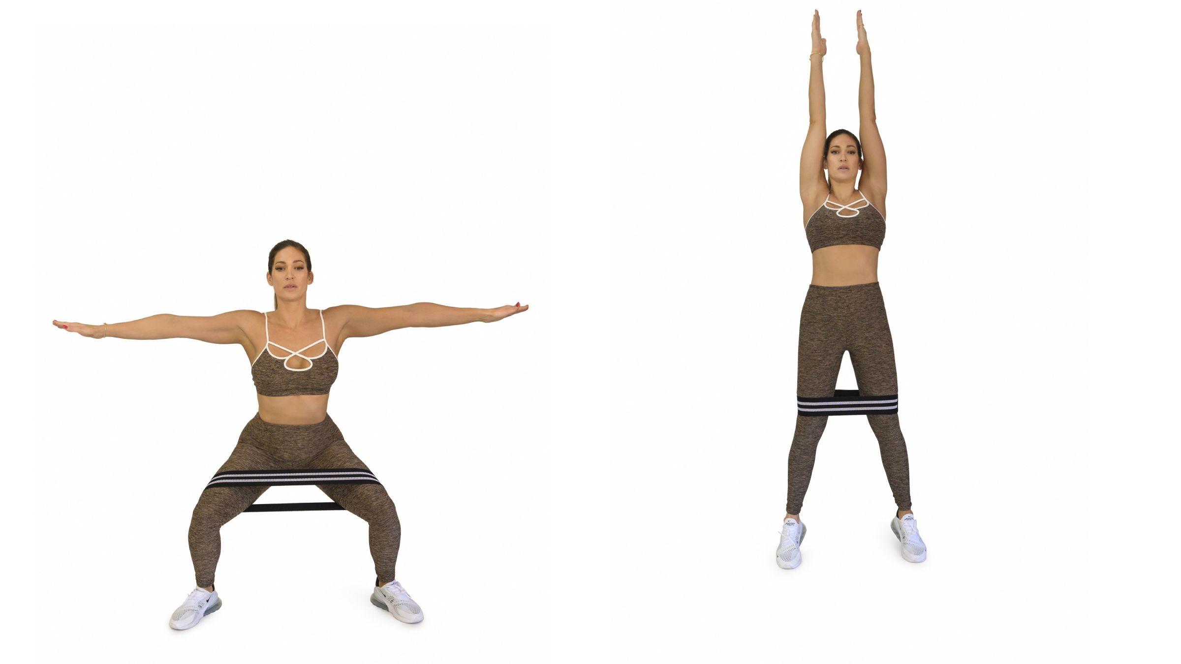 Woman demonstrating Banded Squat Jump