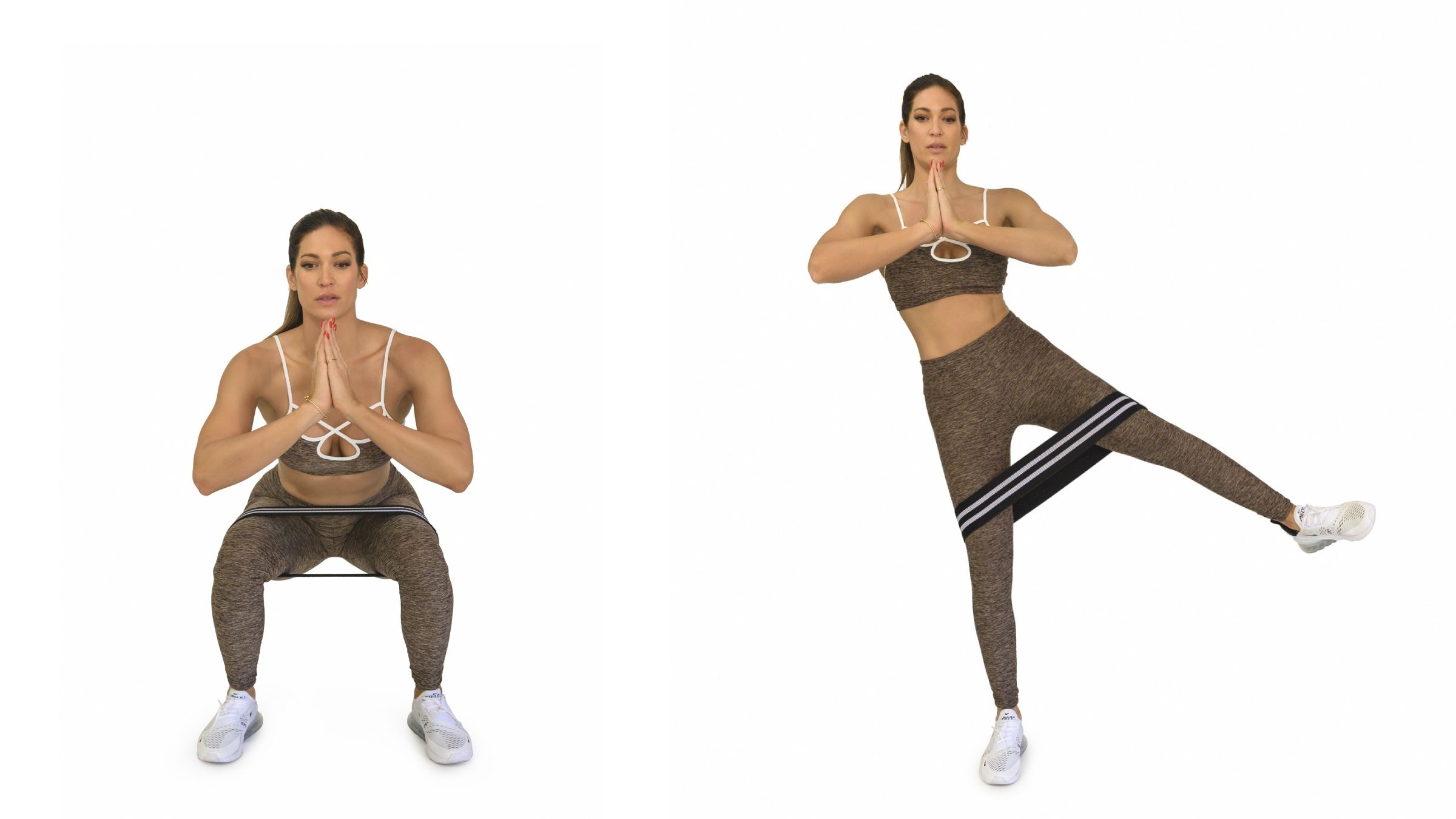 Woman demonstrating Banded Squat to Lateral Leg Lift