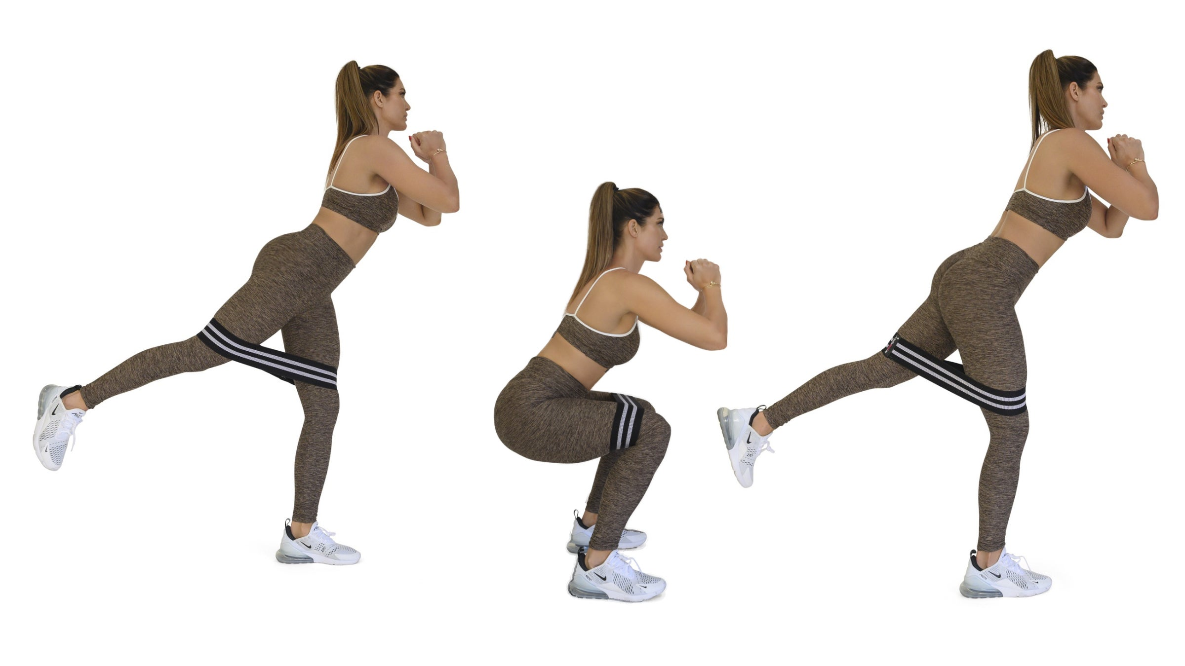Woman demonstrating a squat with banded reverse leg lift