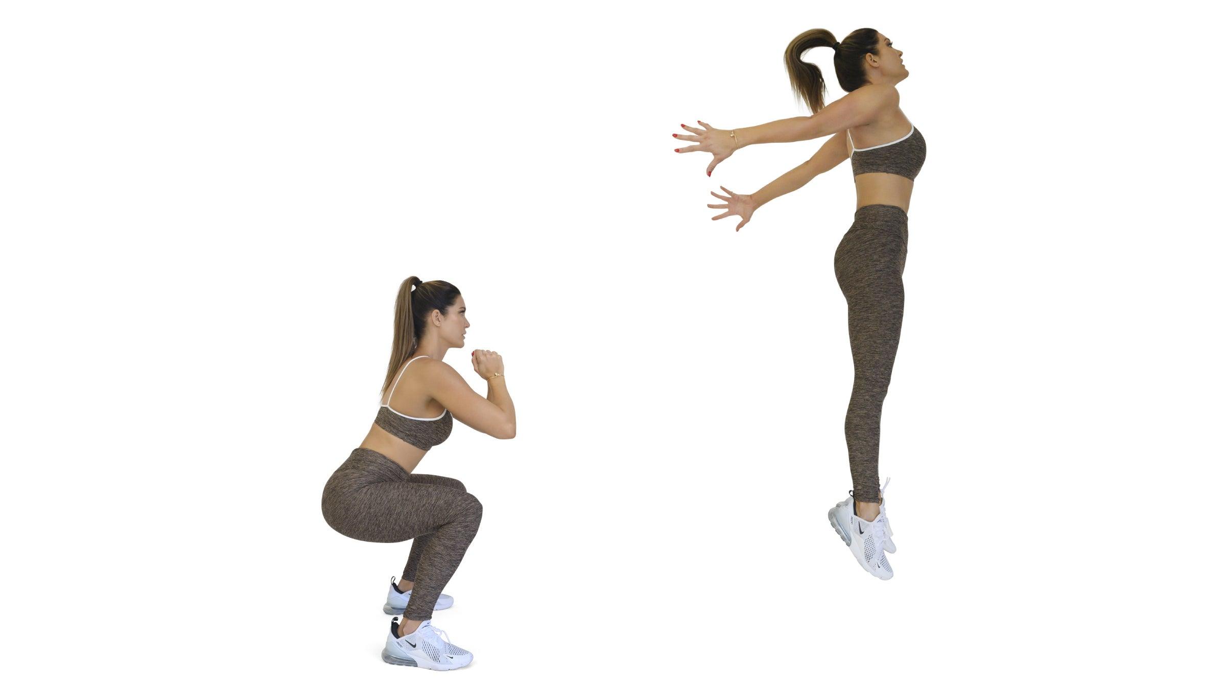 Woman performing a jump squat