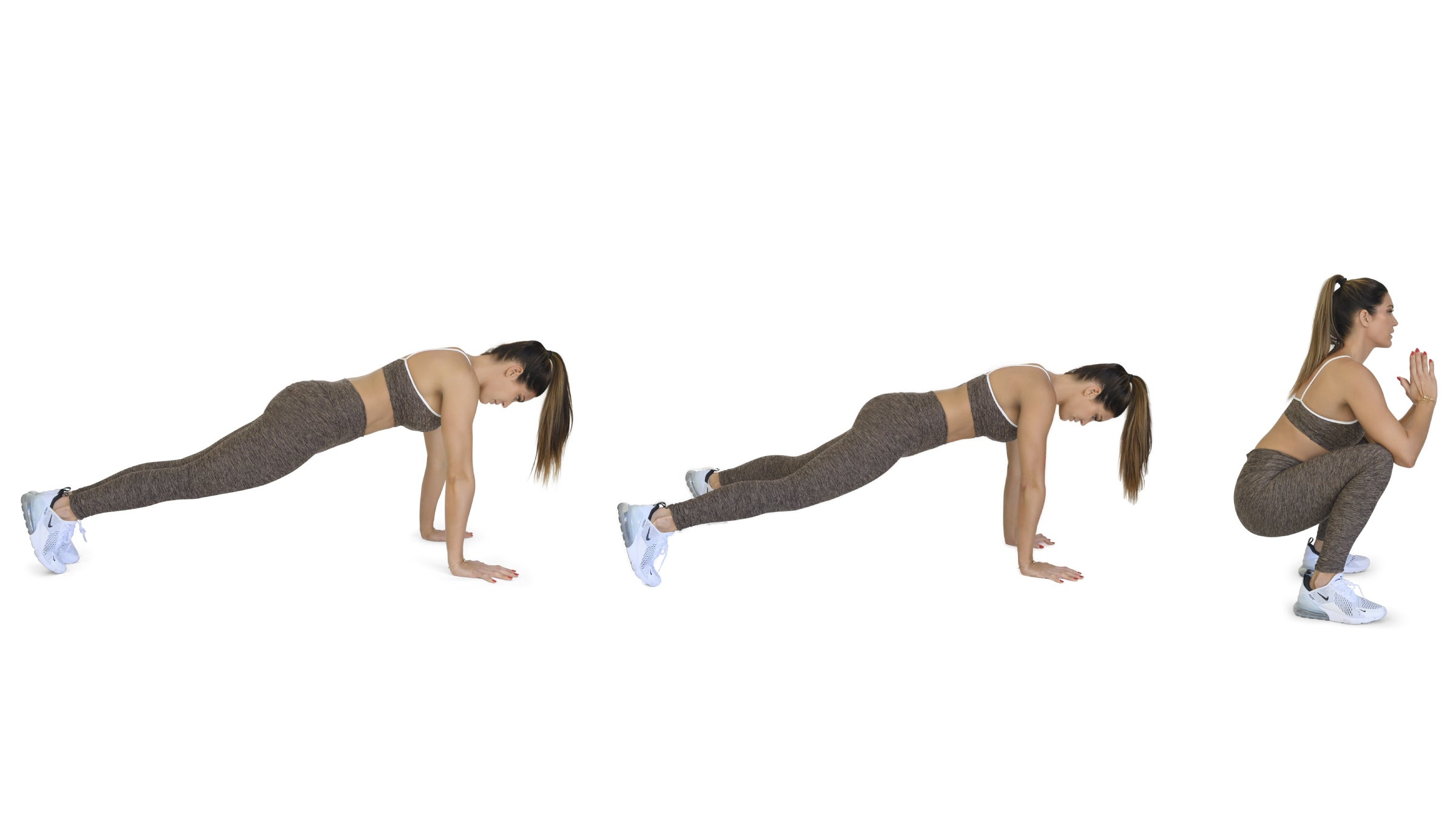 Woman demonstrating a plank jack squat thrust