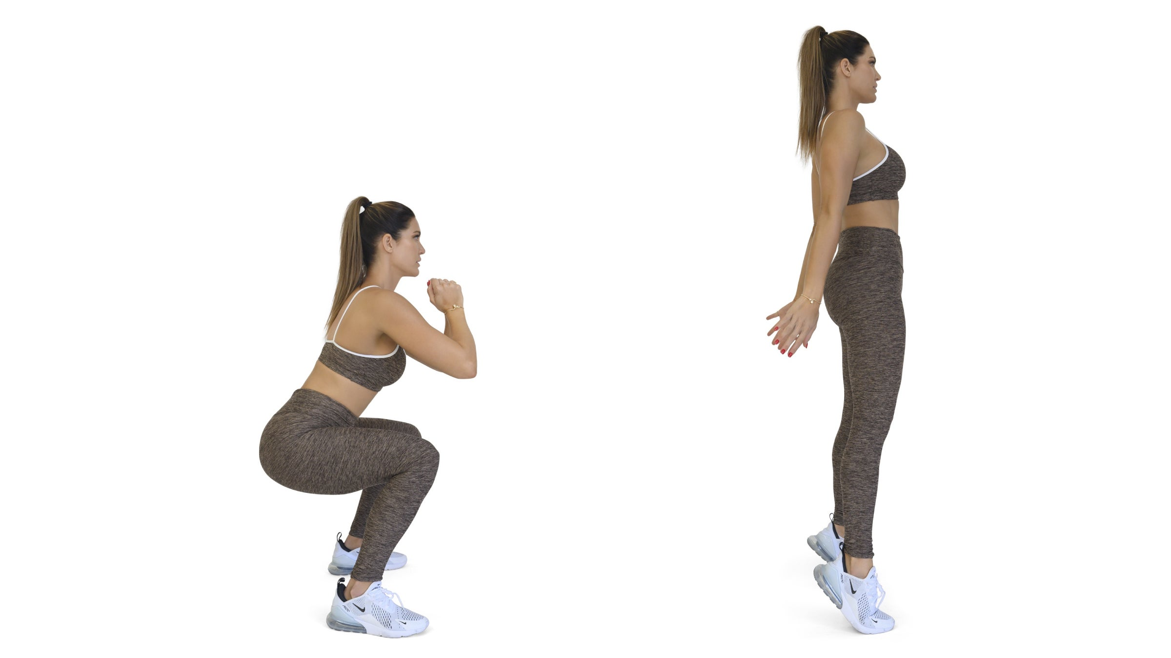 Woman demonstrating a squat to calf raise exercise