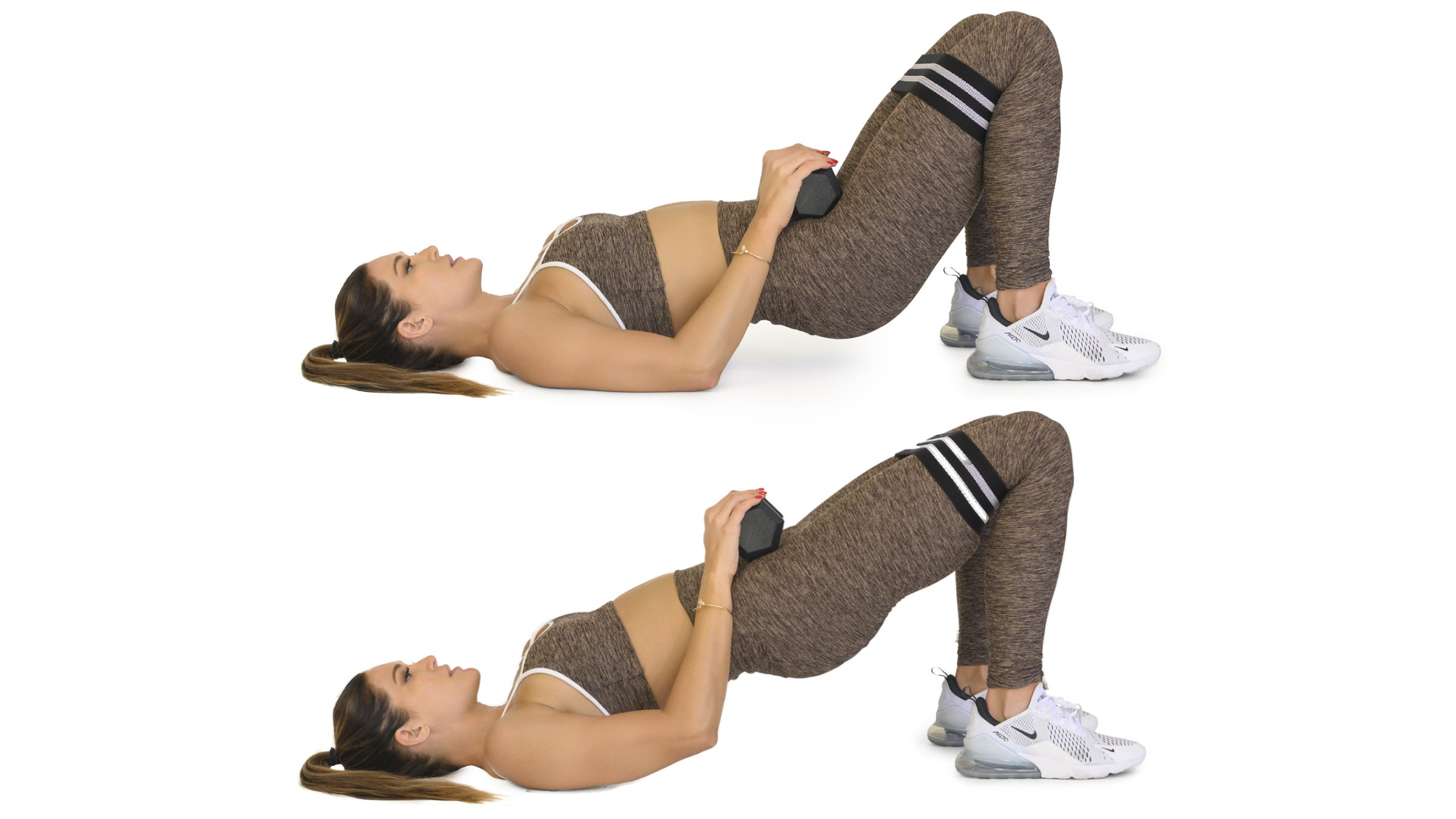 Woman demonstrating a weighted glute bridge lift