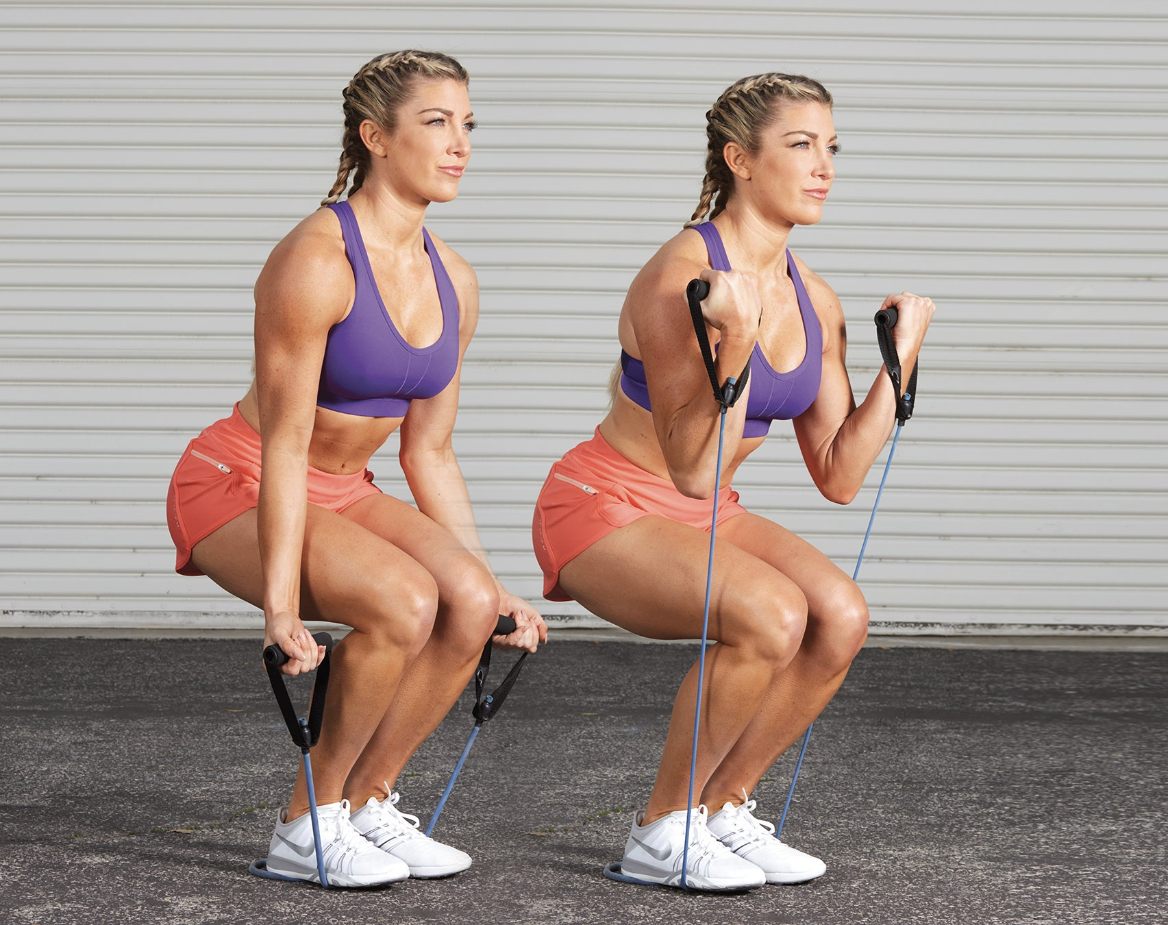 Narrow Squat Hold With Band Curl