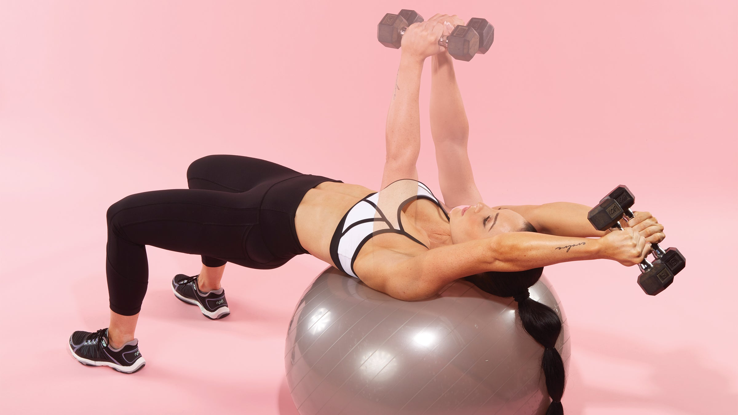 Stability-Ball Two-Arm Dumbbell Pullover