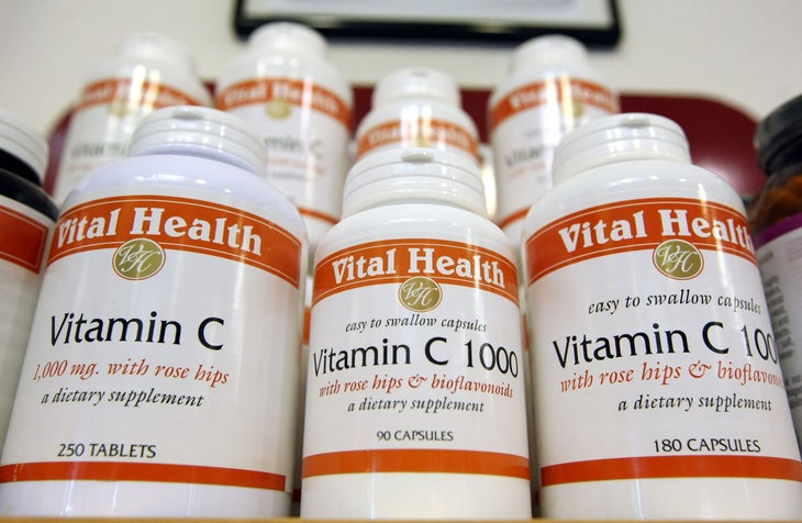 Bottles of vitamin C are displayed at Vibrant Health April 6, 2009 in San Francisco, California