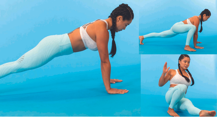 Plank Step-Through Kick