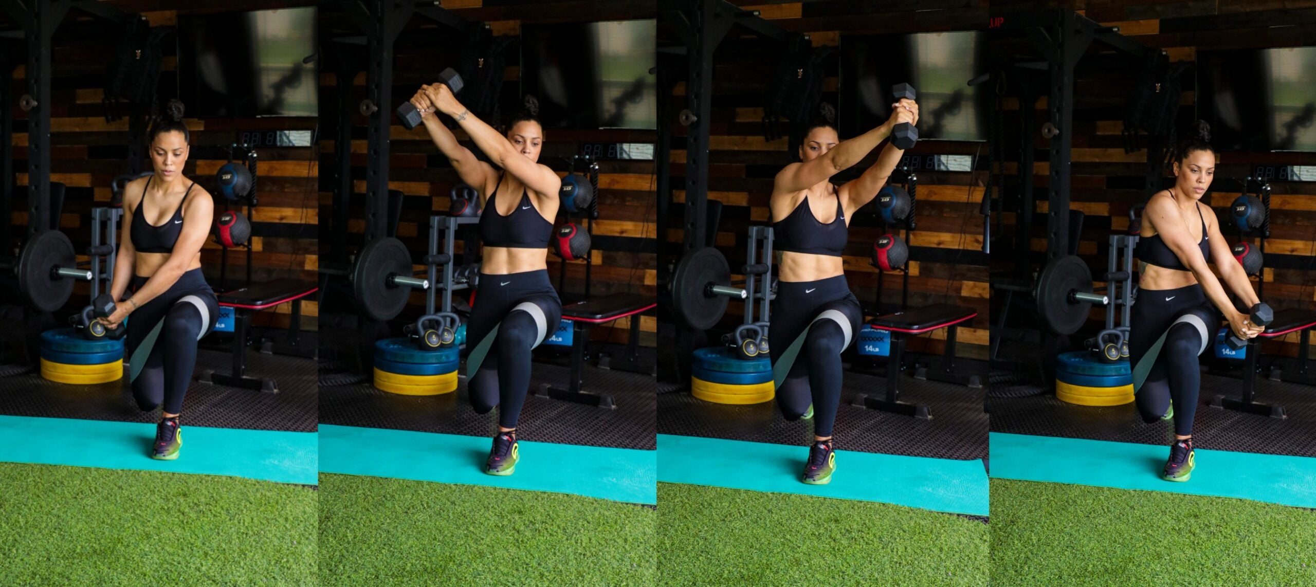 Mini-Band Reverse Lunge With Dumbbell Landmine