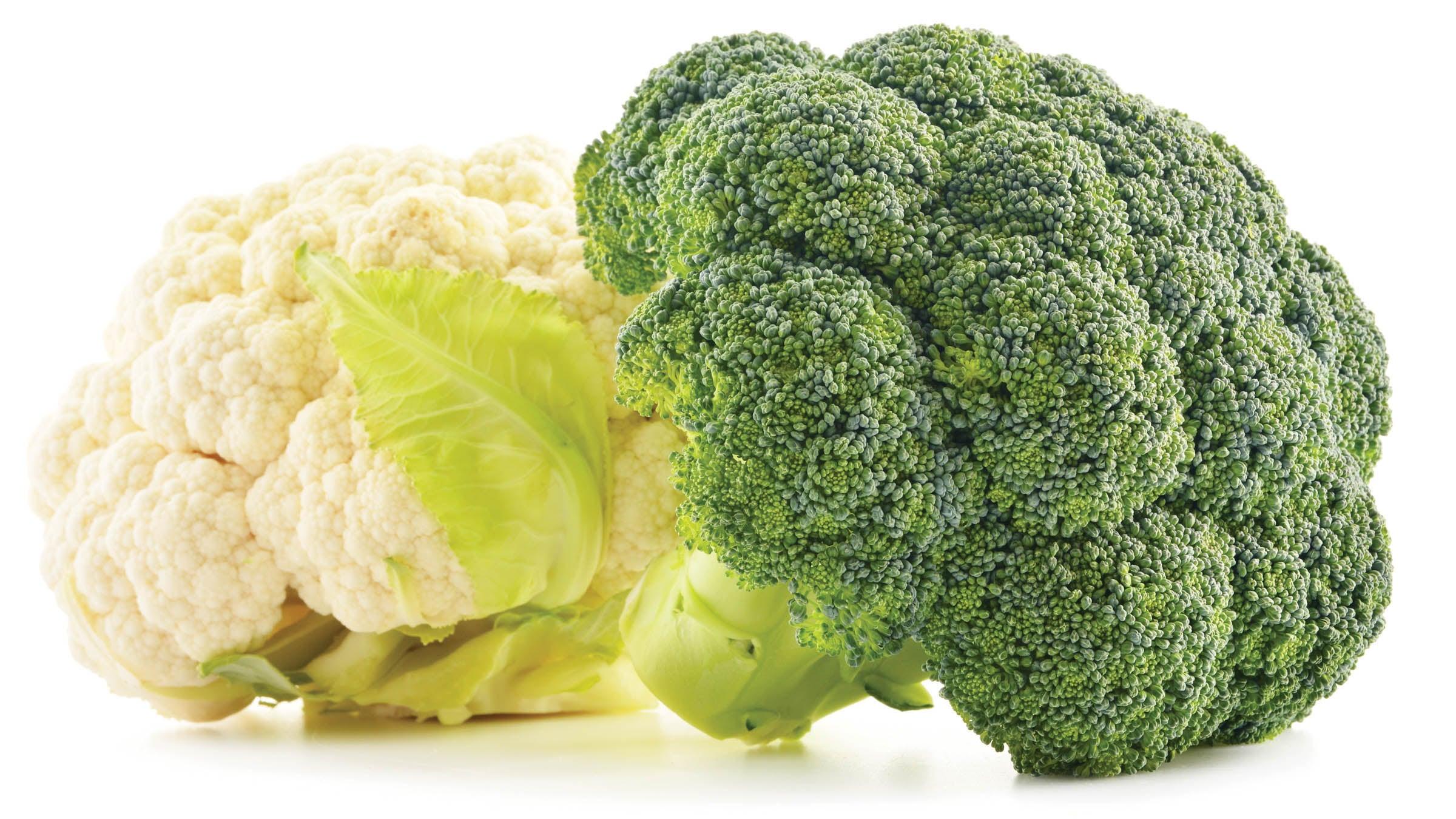 Heads of broccoli and cauliflower
