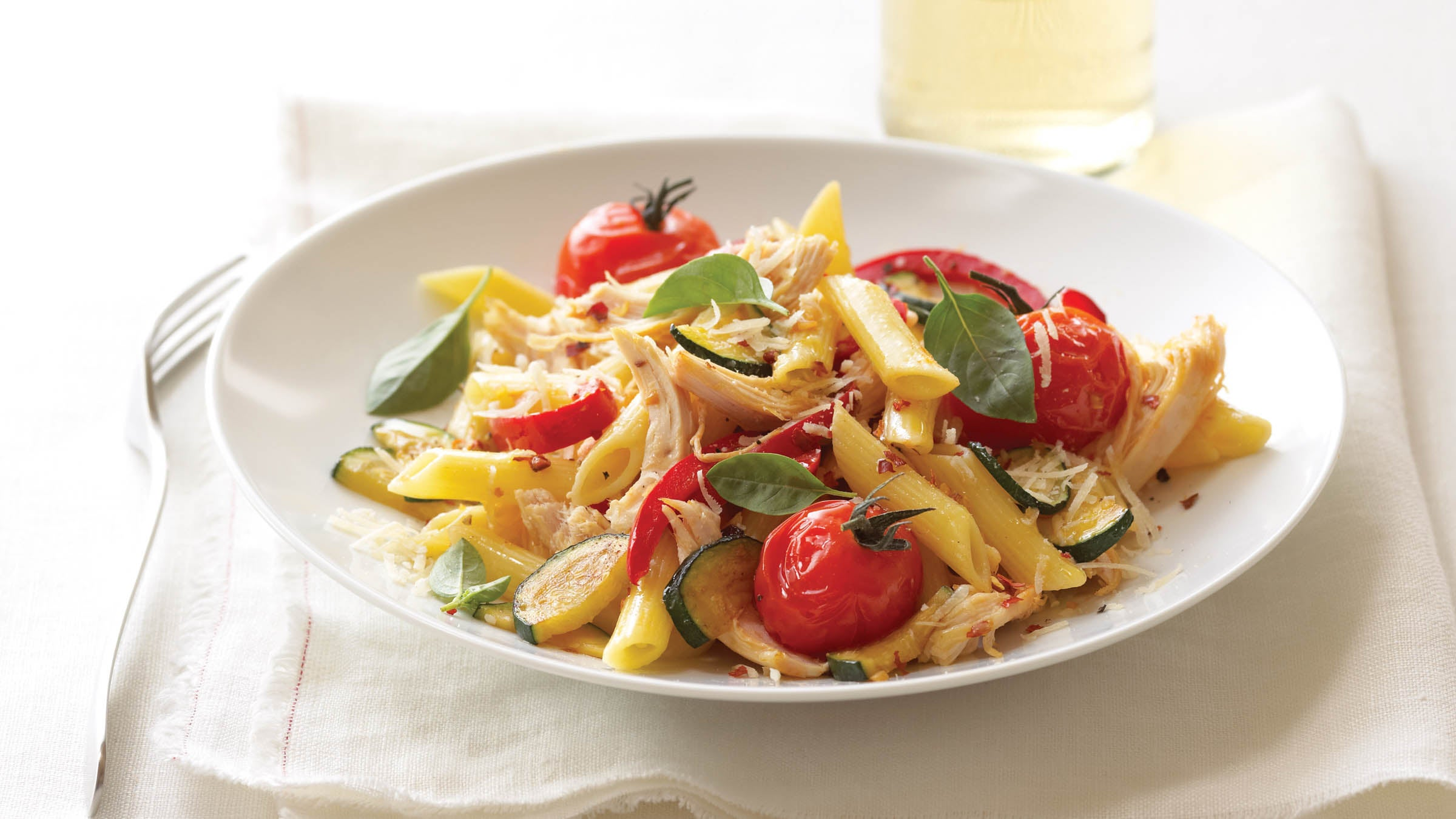 Pasta with Basil Tomatoes, Parmesan and Zucchini
